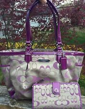Coach Gallery Optic Rose F20444 Purse Tote With Full Size Matching Wallet