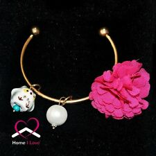Rose Red Chiffon Flower Bright Golden Chic Bracelet with Pearl Ceramic Owl