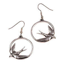 New St Justin Pewter Swallow Bird in Hoop Circle Drop Earrings UK Made PE217
