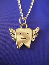 """FREE GIFT ** ANTIQUED SILVER Tooth Fairy PENDANT With 16""""  NECKLACE"""