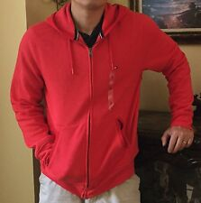 TOMMY HILFIGER MEN'S PLAINS FULL ZIP HOODIE FLEECE SWEATSHIRT JACKET RED XLARGE