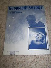 VTG Sheet Music GOODNIGHT SOLDIER Harry Johnson 1943 MARTHA MEARS Rare Cover!!!
