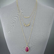 Gold Long Chain Dainty Simple Red Stone Pendant Bohemian Style Layered Necklace