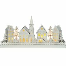 "WeRChristmas Large Pre-Lit ""Wooden 4 House Village Scene with Church"" Christm..."