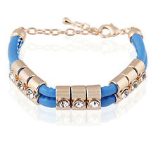 Blue Fashion PU Leather & Gold Rhinestones Wrap Woven Bracelet Bangle BB71