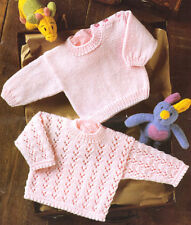 "Lace & Picot Baby Sweater & Plain Version DK  12"" - 22"" Premature/Reborn To Knit"