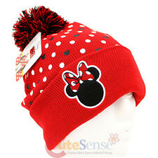 Disney Minnie Mouse Logo Dots Beanie with Furry Ball - Junior Teen / Adult