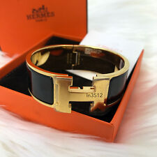 BNIB 2017 HERMES CLIC CLAC BLACK ENAMEL H BANGLE BRACELET YELLOW GOLD PLATED  PM