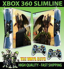 XBOX 360 SLIM HOW TO TRAIN YOUR DRAGON TOOTHLESS 01 STICKER SKIN & 2 X PAD SKIN