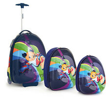 Kindertrolley 3 Set Hartschalen Rucksack Koffer Reisekoffer Schultasche Blau