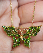 New 2.7ct Russian Chrome Diopside Butterfly Pendant 925 Silver 18k Overlay