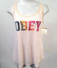Obey Women's Tank Top Collegiate Watercolor White Smoke XS NWT Shepard Fairey
