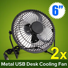 2x Jumbo 6inch USB Desk Cooler Cooling Fan Metal Construction