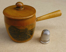 Antique Mauchline Ware Saucepan Shaped Thimble Holder with Silver Thimble