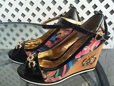 """APPLE BOTTOMS """"Alina"""" Unique Peep Toe Ankle Strap Wedges Heels Shoes Sz 8.5"""