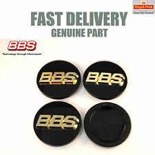 4x Genuine BBS Center Caps 70.6mm Black and Gold 3D RS RM RX NEW