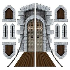 MEDIEVAL SCENE SETTER Birthday Party CASTLE DOOR WINDOWS BRIDGE Wall Decoration