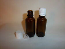 3 NEW 1 oz.(30 ml) Amber Boston Round GLASS Bottles with reducer (dropper) Caps