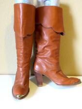 Vintage 1970's Dingo rust brown fold over tall hippie wooden heeled boots 6.5 M
