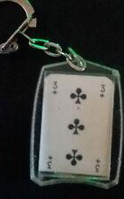 Porte-clé carte à jouer 3 (trois) de trèfle Biscuits Lilan Vintage