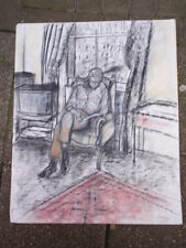 BLAKEY SIGNED CHARCOAL PASTELS DRAWING OF A GENTLEMAN IN A CHAIR ON PAPER