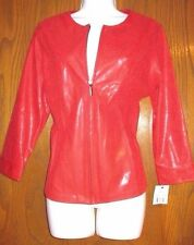 NEW (with tags) Women's Red Sexy Faux Snakeskin Zippered Jacket Size 8