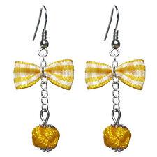 Boucles D'oreilles femme rétro chic pin up noeud papillon vichy jaune citron