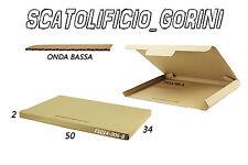 10PZ SCATOLA CARTONE 50x34x2 FUSTELLATA IMBALLO  SPEDIZIONE BAULETTO PIATTE