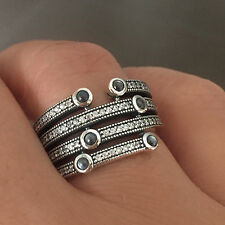 Ocean Ring 925 Solid Sterling Silver Large Band Grey Blue Stones Size 7.5 / 56