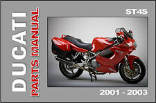 DUCATI Parts Manual ST4 ST4S 2001 2002 & 2003 Replacement Spares Catalog List