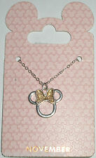 Disney Parks Silvertone Birthstone Necklace - Minnie Bow: November (Yellow)