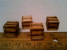 "Miniature Crates Solid Wood 1/2"" Sq Qty of 4  1:12 1:24 Handmade Dollhouse Train"