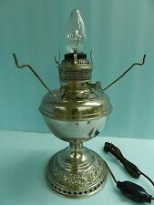 Antique B & H ~ Rayo Original Nikel Plated Brass Oil Lamp, Converted To Electric