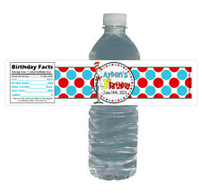 Cat in the Hat 10ct Water Labels WaterProof Dr Seuss Birthday Party Bottle