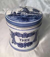 Vintage Royal Delft Blue & White Thee Tea Jar Canister Lid Floral WINDMILL NEW