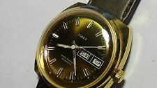 70's RARE Vintage Gold toned Mens Timex Tigers Eye Brown Auto day/date watch
