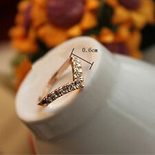 V Shape Crystal 18k Gold color Cocktail Party Knuckle Ring