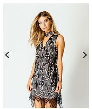 Parisian Black Nude Lace Choker V Neck Party Dress In Style Of Lipsy 8, 10