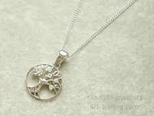 925 Sterling Silver CZ Cubic Zirconia Tree Of Life Pendant Necklace Chain & Box