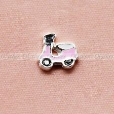 1 Pc Mini Cute Pink Moped Floating Charm for Glass Living Memory Locket Fashion