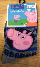 Infant Shoe Size 6-8 Boys Grey & Blue Stripe Ankle Socks with Peppa Pig