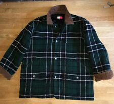 Vintage Men's Wool Field Car Plaid Coat Jacket Size Large Tommy Hilfiger - EUC!