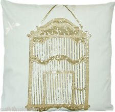 Bird Cage Cushion Cover Nina Campbell Fabric Duck Egg Gold Printed Cotton 16""