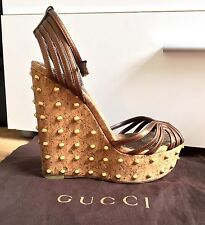 GUCCI Cecyl Spiked Metallic Leather Studded Wedge Sandals Size 36