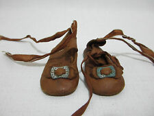 Antique Doll Shoes Soft Leather w Metal Buckles