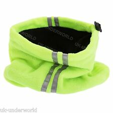 Mens Hi-Vis Reflective Fleece Neck Warmer Balaclava Snood Workwear Adults Scarf