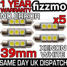 5x 3 SMD LED 39mm 239 272 CANBUS NO ERROR XENON WHITE NUMBER PLATE LIGHT BULB UK