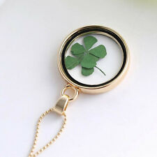 Four Leaf Clover Shamrock Real Flower Necklace Gold Plated Jewelry Lucky Gifts