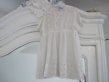 LOVELY ANTIQUE VICTORIAN EMBROIDERED LACE AND EYELET BABY GIRL DOLL DRESS 9MONTH