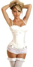 *New*Sexy Corset Bustier Lingerie Top Lace up Bridal Wedding Overbust Basque